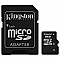 Kingston MicroSDHC 8GB memóriakártya Class4, SD adapterrel