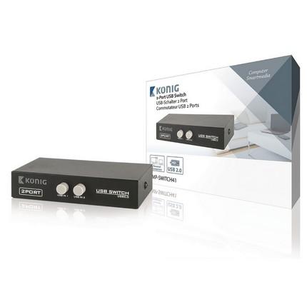König 2 portos, manuális USB kapcsoló