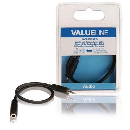 Valueline jack 2,5mm apa - 3,5mm anya átalakító 20 cm