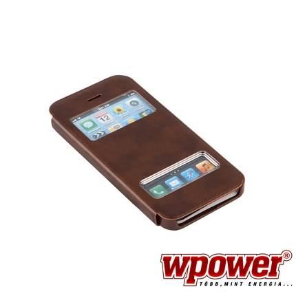 Apple iPhone 5S műbőr telefontok, barna