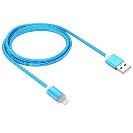 Lightning - USB2.0 kábel LED-es állapotjelzéssel 1.0m, kék