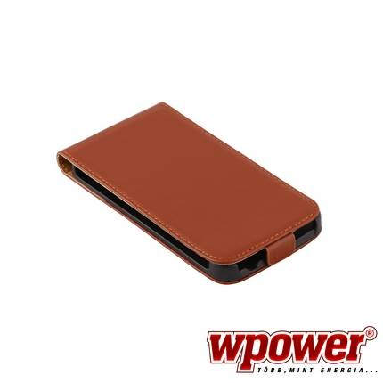 Samsung Galaxy S5 valódi bőr telefontok, barna (3468)