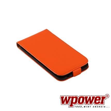 Samsung Galaxy S5 valódi bőr telefontok, narancs (3468)