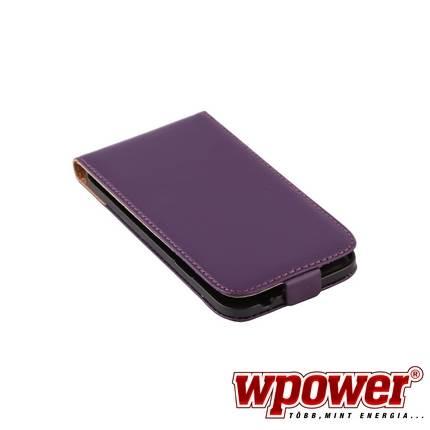 Samsung Galaxy S5 valódi bőr telefontok, lila (3468)