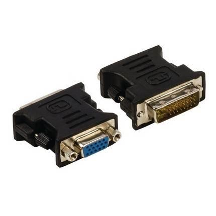 DVI-VGA átalakító, DVI-I 24+5 tűs apa - VGA anya, fekete