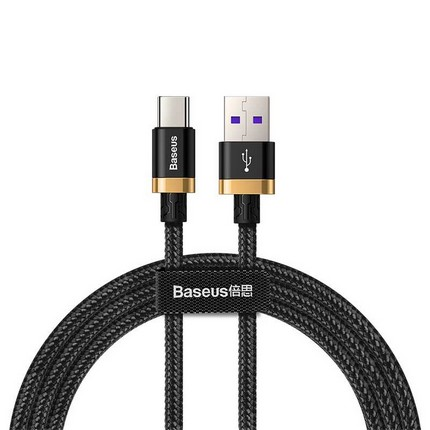 Baseus Type-C USB töltő- és adatkábel max. 5A, 1.0m, fekete
