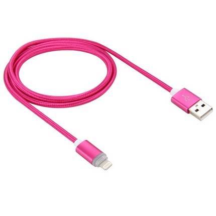 Lightning - USB2.0 kábel LED-es állapotjelzéssel 1.0m, rózsaszín
