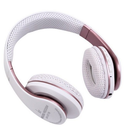JKR 211B Bluetooth fejhallgató, MP3, FM rádió, fehér-rózsaarany