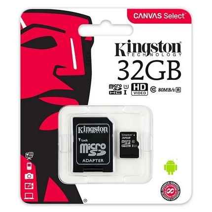 Kingston MicroSDHC 32GB memóriakártya Class10+UHS-1, SD adapterrel