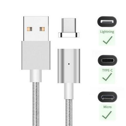 Mágneses USB kábel Android, iPhone és Type-C, 1.0m, ezüst