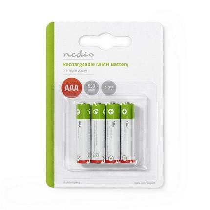 Nedis NiMH AAA akkumulátor 950mAh, 4db, használatra kész