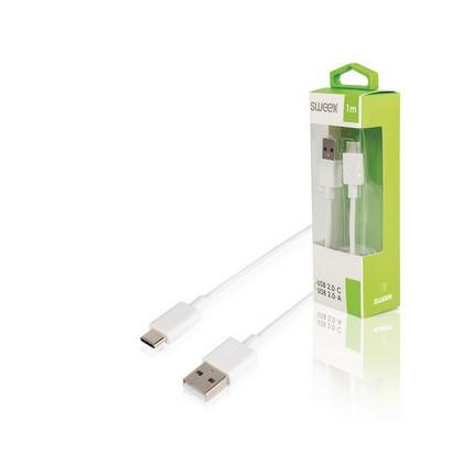 Sweex USB2.0 Type-C kábel 1.0m, fehér