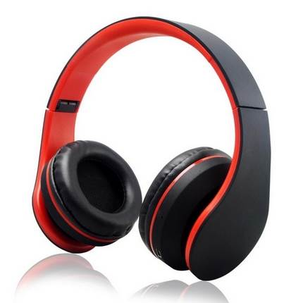 WPOWER K-818 Bluetooth, MP3, sztereó headset, piros