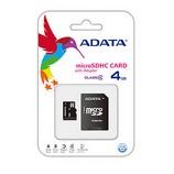 Adata 4GB MicroSDHC memóriakártya+SD adapter Class4