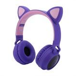 Macskafüles, LED-es Bluetooth 5.0 fejhallgató, lila