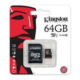 Kingston microSDXC 64GB Class10 memóriakártya, SD adapterrel