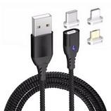 WPOWER mágneses USB kábel, 3A PD-QC gyors-töltés, fekete